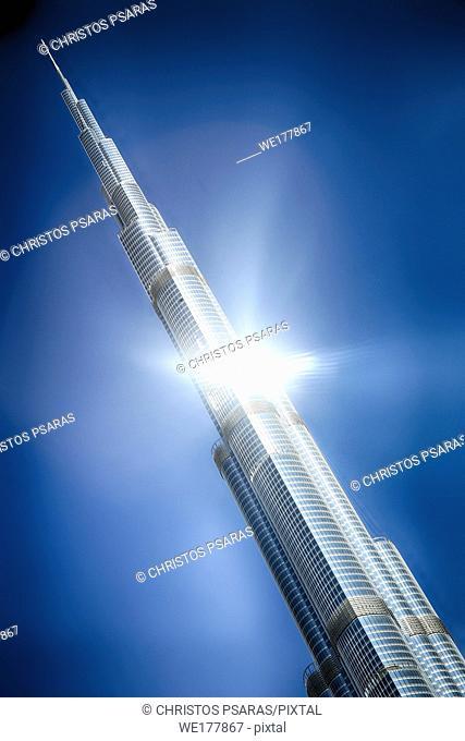 Sun reflects at the Burj Khalifa tower, the tallest building in the world, at Dubai United Arab Emirates