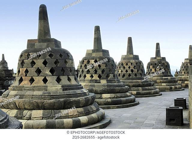 Indonesia-Java-Borobudur, general- View of perforated Stupas