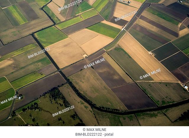 Aerial view of rural farmland