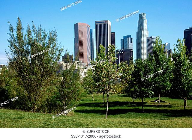 View of Downtown LA skyline from Vista Hermosa Park, Los Angeles, California