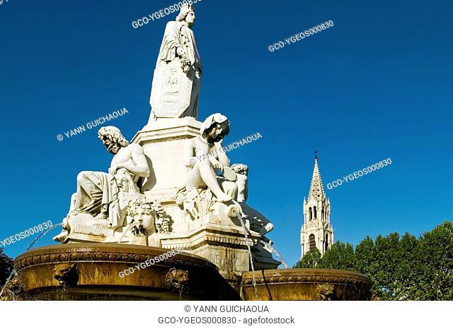 The Fountain Pardier, Nîmes,Gard,Languedoc Roussillon, France