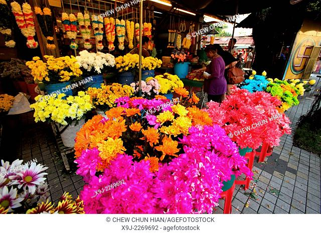 indian flower stall, penang, malaysia