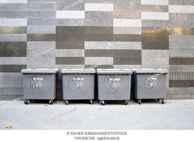 Public rubbish bins. Barcelona. Catalonia, Spain