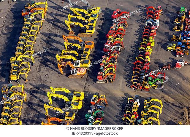 Aerial view, excavators and mini excavators, sales area for ??used construction equipment, Dormagen, Rhineland, North Rhine-Westphalia, Germany