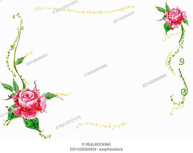 a watercolor drawing of red flower and vines in a white background