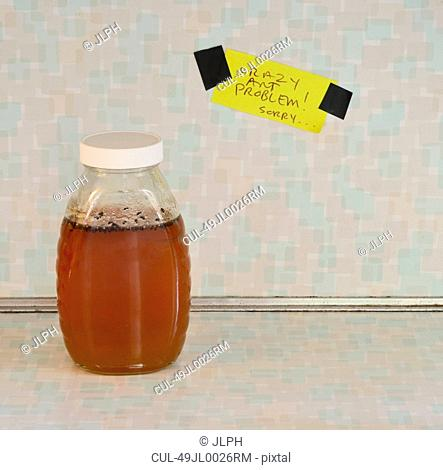 Jar of honey with ant problem sign