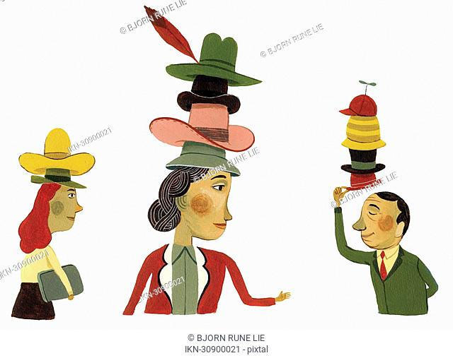Business people wearing many hats