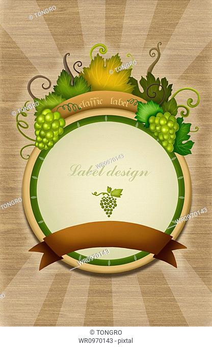 label design of green grape vine