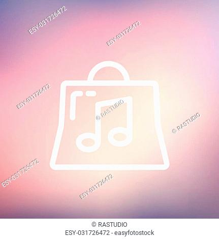 Shopping bag with musical note icon thin line for web and mobile, modern minimalistic flat design. Vector white icon on gradient mesh background