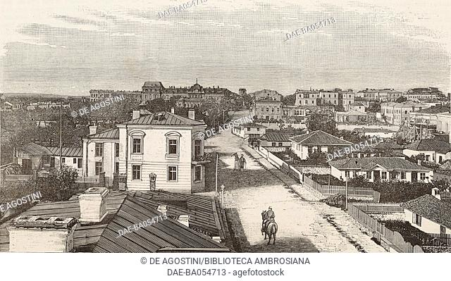 View of Sofia, Bulgaria, illustration by Tilly from L'Illustration, Journal Universel, No 2224, Volume LXXXVI, October 10, 1885