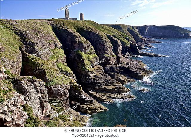 Land and cliffs at Cap Frehel, Cote d'Armor, Brittany, France