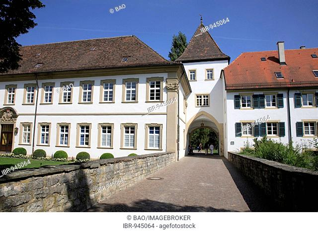 Town gate in the castle park of the Deutschordenschloss Castle, Bad Mergentheim an der Tauber, Baden-Wuerttemberg, Germany, Europe