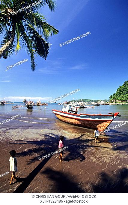 children on the beach of Bungus Bay, Sumatra island, Republic of Indonesia, Southeast Asia and Oceania