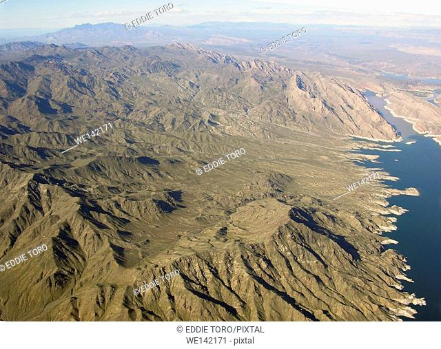 Aerial view of Lake Mead which is located in the states of Nevada and Arizona. Formed by water impounded by the Hoover Dam in the USA