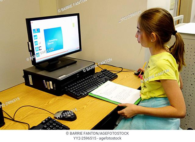 6th Grade Girl Working at Computer, Wellsville, New York, United States