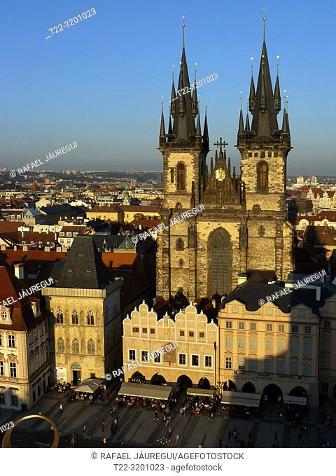 Prague (Czech Republic). Church of Týn in Old Town Square (Staromestské námestí) of the city of Prague