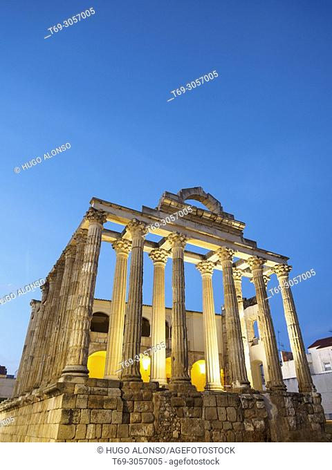 Night view of the Diana Temple. Merida. Badajoz. Extremadura. Spain