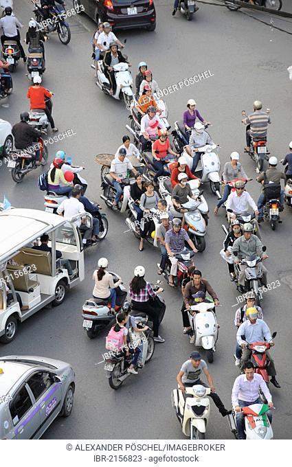 Mopeds, road traffic, Hanoi, Vietnam, Southeast Asia