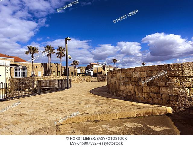 On the fortification wall in Akko, Israel, Middle East