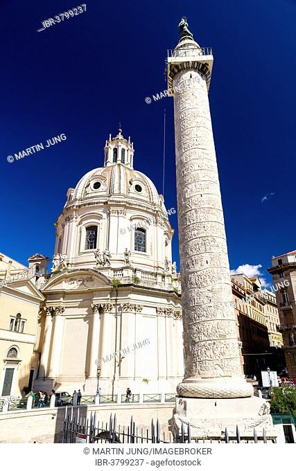 Trajan's Column, the church Chiesa SS Nome di Maria e Bernardo, Rome, Lazio, Italy