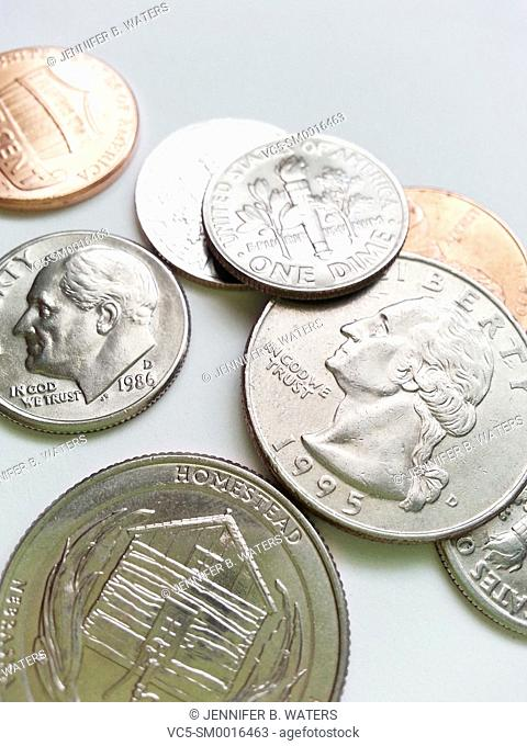 Close-up of U.S. coins on a white background