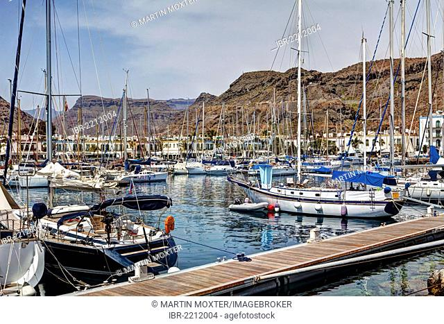 Sailing yachts in the marina, Puerto de Mogan, Gran Canaria, Canary Islands, Spain, Europe, PublicGround
