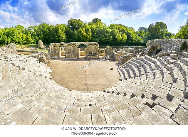 Theatre in Sanctuary of Asclepius in ancient Roman city, Butrint, UNESCO, Albania