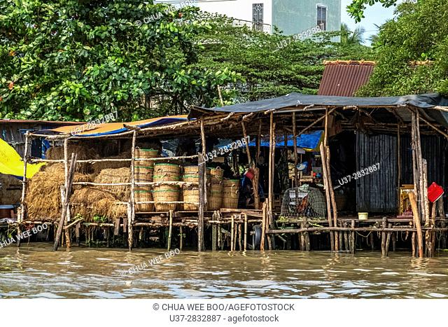 Vietnamese house by the river bank, Can Tho, Vietnam