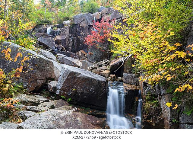 Zealand Falls on Whitewall Brook in Bethlehem, New Hampshire USA on an autumn day. This waterfall is located near Zealand Falls Hut