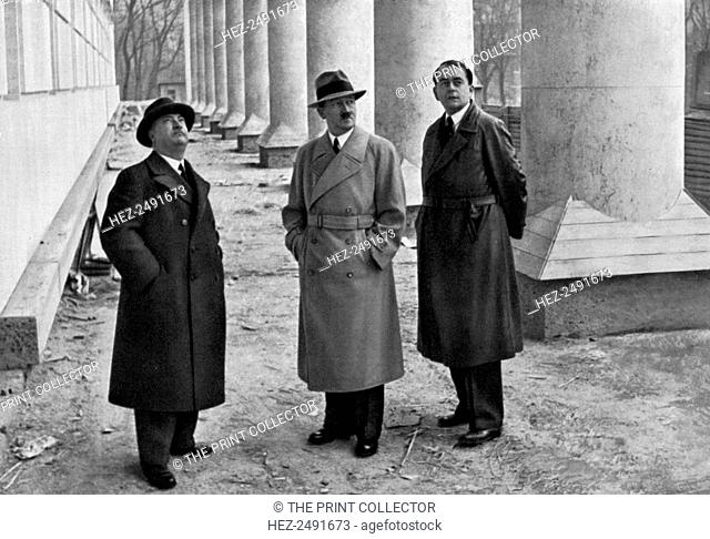 Adolf Hitler, with architects Professor Leonhard Gall and Albert Speer, Munich, Germany, 1934. Hitler (1889-1945), Gall 1884-1952) and Speer (1905-1981)...