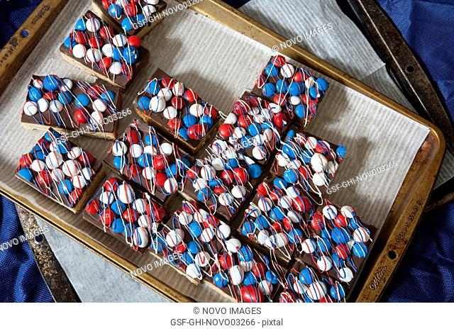 Bar Cookies with Red, White & Blue Candies