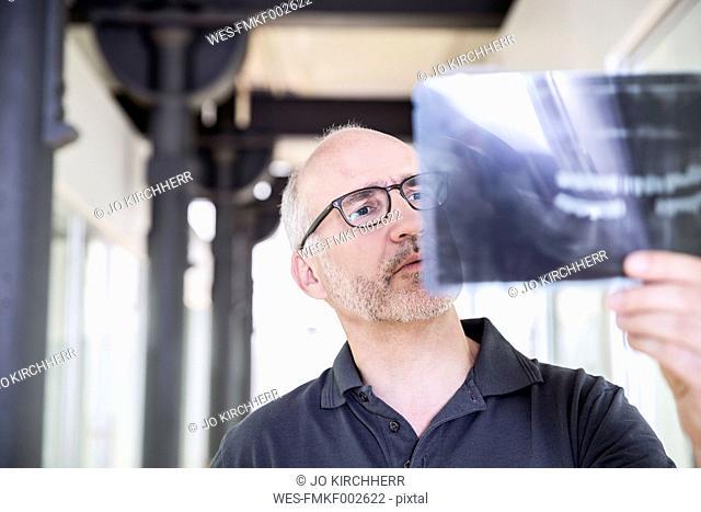 Dentist examining x-ray image