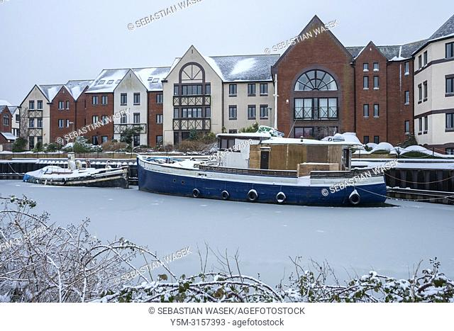 Freezing River Exe at Exeter Quay, Devon, England, United Kingdom, Europe