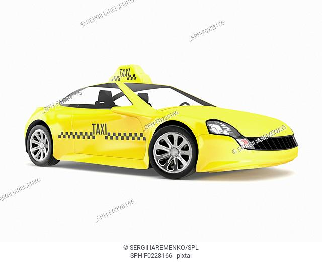 Yellow taxi, illustration