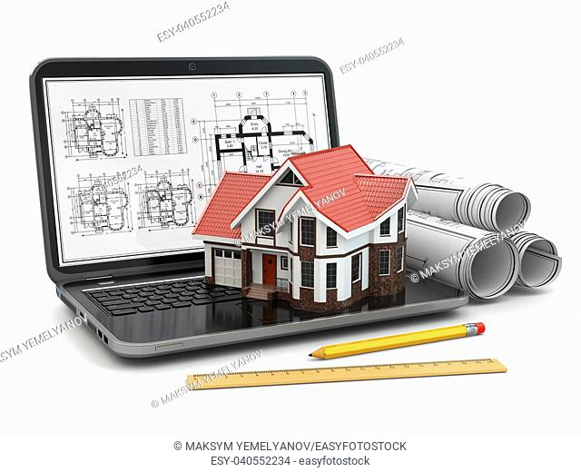 Laptop, house and blueprint with project. 3d