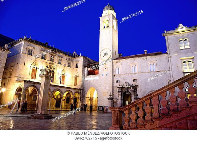 "Clock tower in Placa street """"Ulica"""", Dubrovnik, Croatia"
