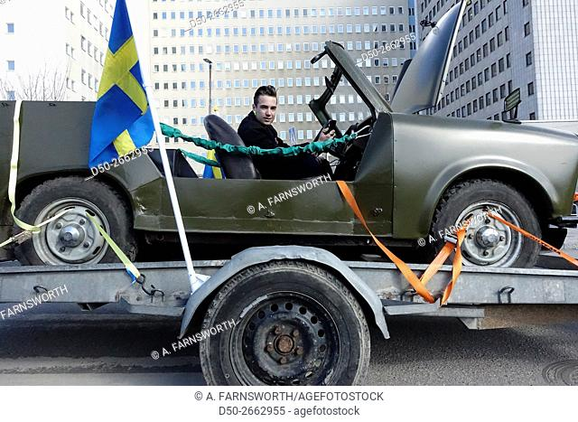 STOCKHOLM, SWEDEN 19 year old with his hobby refurbished Trabant car from former East Germany