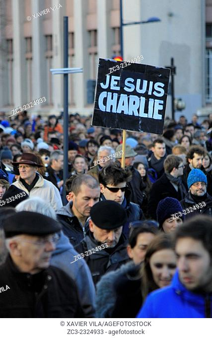 """110 000 people take part in a Unity Rally """"""""Marche Republicaine"""""""" in Grenoble, in tribute of the 17 victims of the three-days killing spree"""
