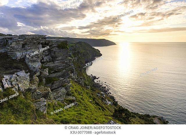 Valley of the Rocks overlooking the Bristol Channel in late summer. Exmoor National Park, North Devon, England