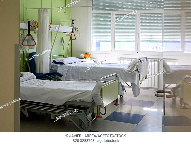 Beds in hospital room, Hospitalization Plant, Hospital Donostia, San Sebastian, Gipuzkoa, Basque Country, Spain