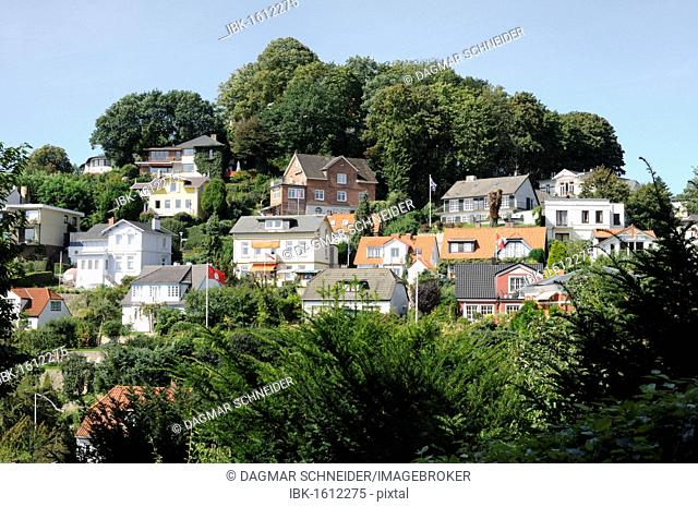 Residential houses at Suellberg hill, Blankenese district, Hamburg, Germany