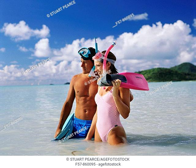Couple on a tropical beach in the Caribbean