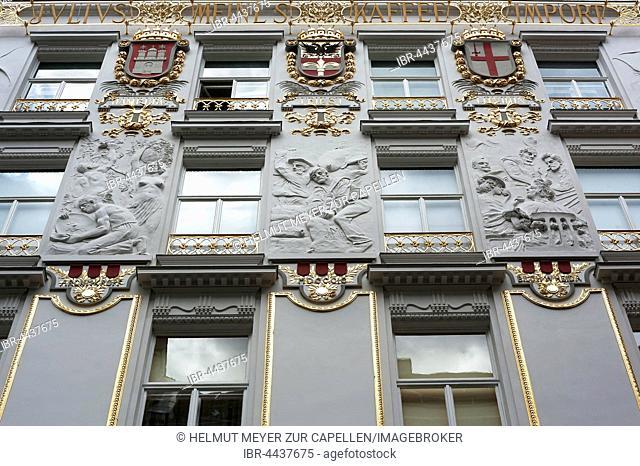 Facade with stucco reliefs, home of coffee roaster Julius Meinl, Vienna, Austria