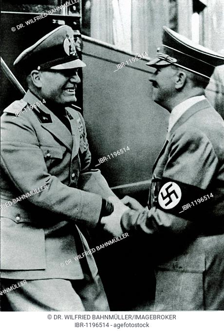 Adolf Hitler and Benito Mussolini on September 28th 1939 in Kufstein, German Reich, Europe, historical photo