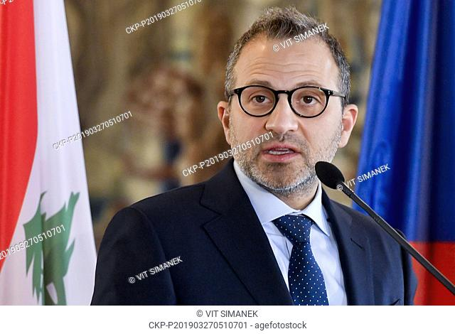 Lebanese Foreign and Emigrants Minister Gebran Bassil attends a news conference after meeting with Czech Foreign Minister Tomas Petricek to discuss bilateral...