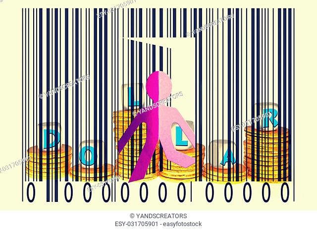 Paperman coming out of a bar code with Dollars word