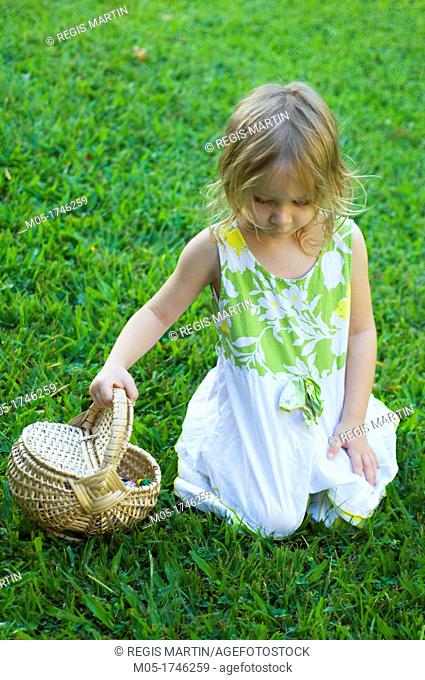 A 4 year old searching for Easter eggs