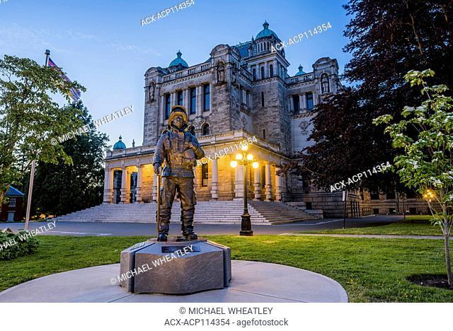 BC Firefighters Memorial - The Last Alarm- sculpture by Dean Lauze, Legislature Grounds, Victoria, British Columbia, Canada