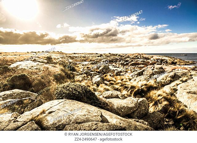 Gorgeous rocky coastline situated on the northeastern coast in Tasmania's picturesque Bay of Fires, Australia