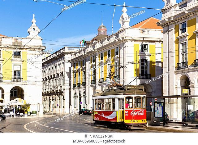 Old tram in Praca do Comercio, Baixa district